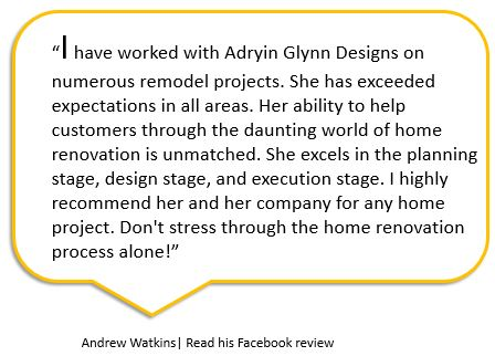 Andrew Watkins Facebook review for Adryin Glynn Designs, Raleigh, NC